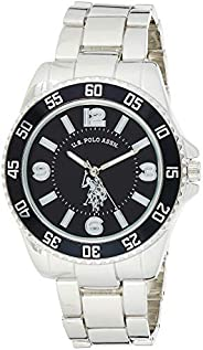U.S. Polo Assn. Men's Silver-Toned Watch with a Black Dial, Automatic Quartz Metal/Alloy, Fold-Over-Clasp