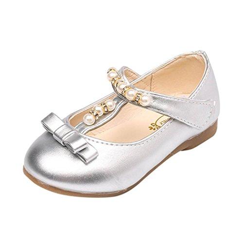 Toddler Shoes Kids Girls Baby Beading Fashion Princess Bowknot Sandals Single (24, Silver)