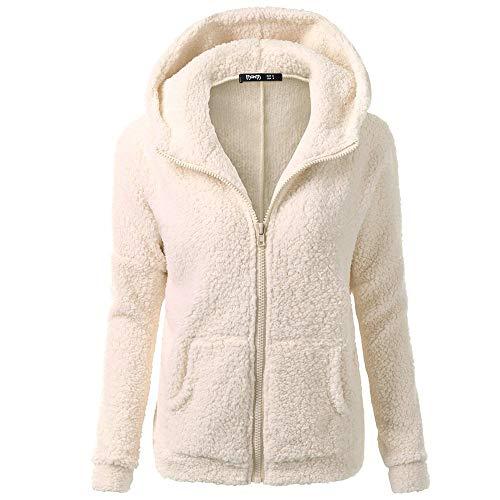 iHENGH Damen Mantel Top,Women Herbst Kapuzenpullover Fell Winter Warme Wolle Jacke ReißVerschluss Baumwollmantel Outwear Strickjacke Coat (EU-38/CN-L,Beige)
