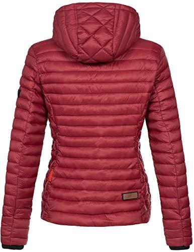 Marikoo Damen Jacke Steppjacke Übergangsjacke mit Kapuze gesteppt B600 [B600-Samt-Grannit-Rot-Gr.XS] - 3