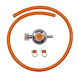 BFG Set di Collegamento per elettrodomestici a Gas butano propano Include regolatore a Bassa Pressione 37 mbar, 1,5 kg/h con valvola di Emergenza, Tubo da 1 m e 2 Morsetti per Tubi.