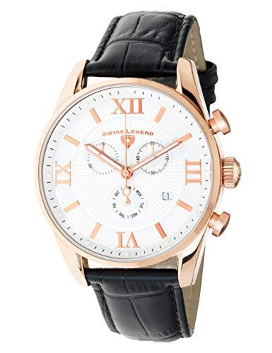 Swiss Legend 22011-RG-02-BLK Herren-Armbanduhr, Analog, Schweizer Quarzuhrwerk, weißes Zifferblatt und rotgoldenes Edelstahlgehäuse mit schwarzem Lederband