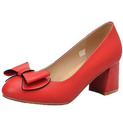 AgooLar Femme Rond Tire Pu Cuir Couleur Unie à Talon Correct Chaussures Légeres Rouge