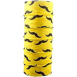 Autofy Unisex Moustache Print Lycra Headwrap Bandana for Bikes (Yellow and Black, Freesize)