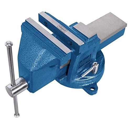Scheppach Profi-Schraubstock mit Drehteller VS125U (Spannweite 125mm, Backenbreite 125mm, drehbar, einfache Montage, Grauguss-Konstruktion, gehärtete Stahlspannbacken, integrierter Amboss)