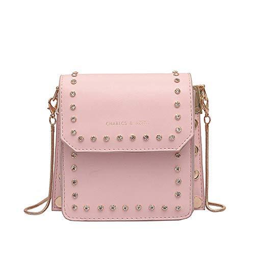 Fyyzg Niet kleine Tasche weibliche besetzte Schulter geschlungene Kette kleine quadratische Tasche koreanische Mode weiches Gesicht Handtasche Flut -PU-pink