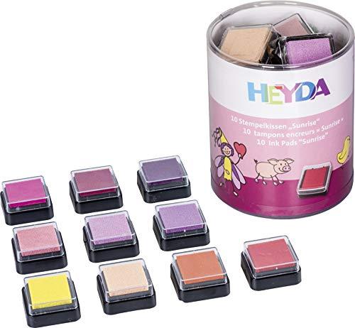Heyda 204888471 Heyda 204888471 Mini-Stempelkissen Set (Sunrise) 3 x 3 cm , 10 Rot-Töne sortiert -