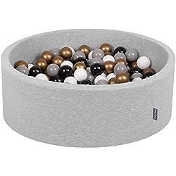 KiddyMoon 90X30cm/200 Balles ∅ 7Cm Piscine À Balles pour Bébé Rond Fabriqué en UE, Gris Clair: Blanc-Gris-Noir-Or