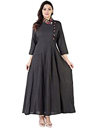 Khushal Rayon Slub Floor Length Long Designer Dress With Beautiful Heavy Hand Work On Neck , Kurta/Kurti For Women's...