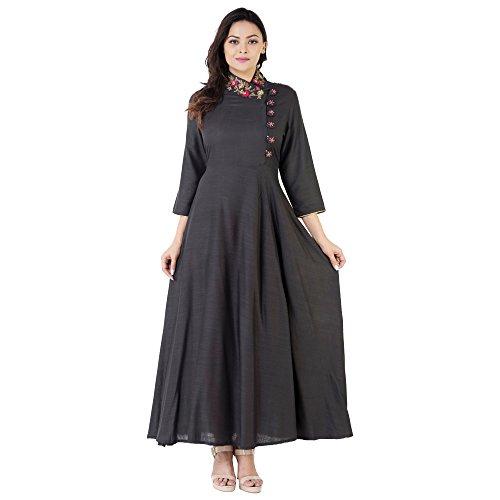Khushal Rayon Slub Floor Length Long Designer Dress With Beautiful Heavy Hand Work On Neck , Kurta/Kurti For Women's...