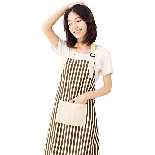 ZUEN Schürze für Frauen, Schürzen für Frauen mit 2 Taschen Verstellbare Kochschürze Extra Lange Krawatten Schürzen aus 100% Reiner Baumwolle (Baumwolle Zwei Tasche)