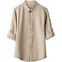 HCFKJ Camisetas Hombre Hombres Camisa CláSica De Estilo Chino De Kung Fu Tops Tang Traje 3