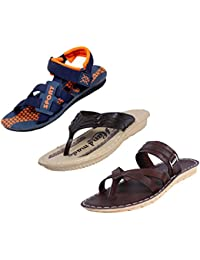 Indistar Boys Comfortable Flip Flop House Slipper And Office Sandal-Blue- Pack Of 3 Pairs