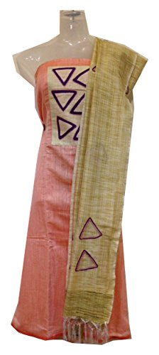 Eve's Apparel Raw Silk Top & Cotton Bottom with Jute Dupatta Pink