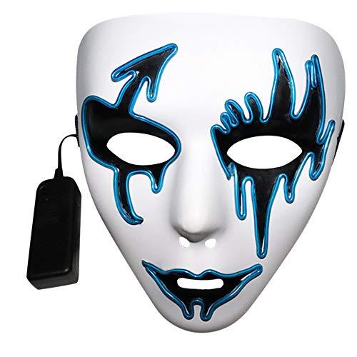 (samLIKE Halloween LED Masken, Horror LED Leuchten Maske für Erwachsene Einheitsgröße, perfekt für Fasching, Karneval und Halloween, Einstellbare Sprachsteuerung, für Herren und Damen ( Blau))