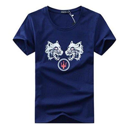 Men's Moda Manga Cotton Short Sleeve Casual Tee Shirt Navy blue