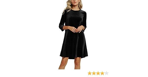 Urban GoCo Donna Vestito Abito Corto Manica 3 4 Elegante Velluto Vestito  Brillante Cocktail Partito Sera (Large 137d30628ee