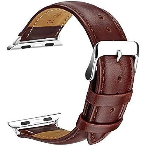 Apple Watch Banda, SOWTECH (TM) 38 mm Reemplazo de cuero genuino correa de reloj de la correa de muñeca de la venda de la hebilla de metal moderno con Broche para Apple Mira y Deporte y edición Todos los modelos (38mm-Brown)