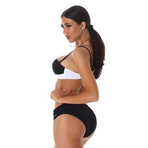 PF-Fashion Bikini Träger Bandeau Bademode Badeanzug Wickel Twist Optik Zweiteiler Slip Top Schwarz-Weiß