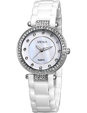 Damenuhr Frauenuhr Rosegold Silber Keramik Weiß Armbanduhr Strass Uhr Quarz Analog Findtime