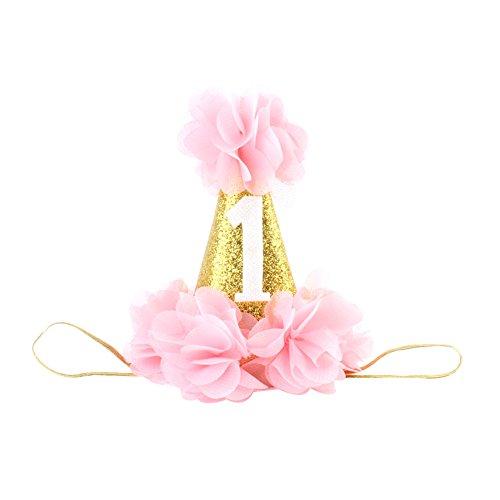 Baby Geburtstagskrone Haarband Stirnband Blume Gold Babyschmuck für 1 Jahre Geburtstag Prinzessin Haarschmuck (Rosa, Onesize) (Prinzessin-geburtstagsfeier Gold Und Rosa)