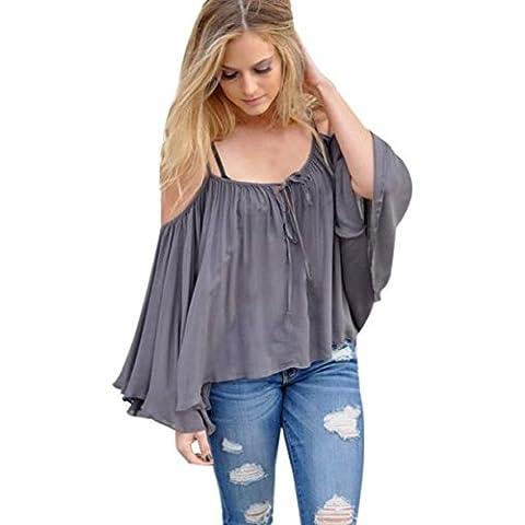 Culater® Las mujeres del hombro de la blusa de manga larga camisa ocasional Tops (S, Gris)