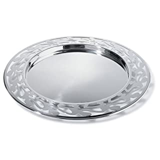 Alessi SG30 Ethno Round Serving Tray - 18/10 Stainless Steel Mirror Polished