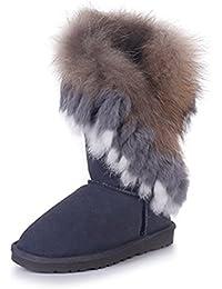 Rismart Damen 2016 High-End Kundenspezifisch Warm Fell Gefüttert Hälfte Schneestiefel Stilvoll Wildleder Winter Stiefel SN2810