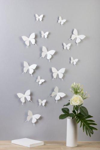 Bilderdepot24, Set di farfalle decorative effetto 3D con adesivo, 15 pz., Bianco (Weiß)