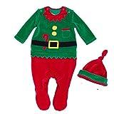 Bom Bom Bebe Navidad Pelele para Dormir Monos Bodies Manga Larga(verde,0-3m)