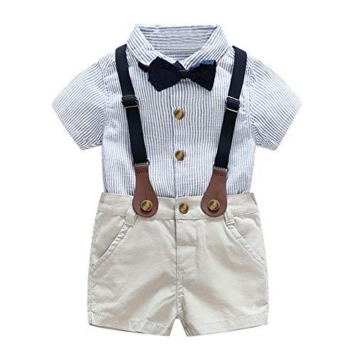 Little Kid Boy Gentleman Kleidung Set Kurzarm T-Shirt Top und Hosenträger Kurze Hose 2 Stück Anzug für Alter 1-5 Jahre - 1 Jahr Alter Baby Junge Kostüm