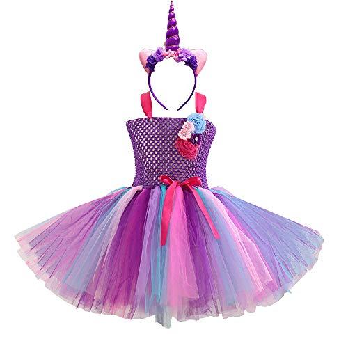 MFEU Mädchen Kinder Regenbogen Kostüm Set, Ballett Tutu Kleider + Einhorn Stirnband für Party