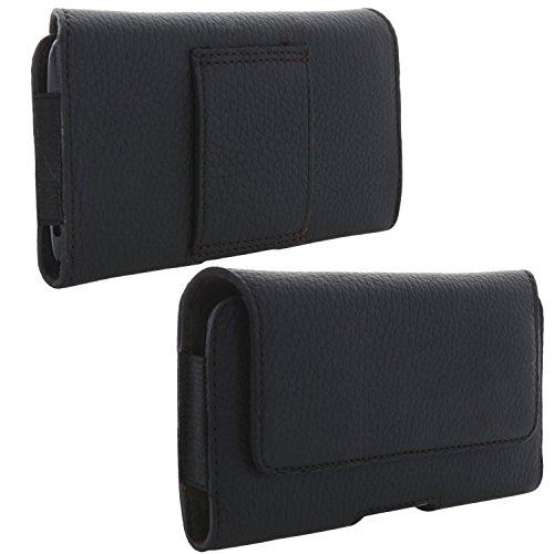 XiRRiX Echt Leder Handy Tasche 2.4 2XL Gürteltasche passend für Samsung Galaxy A3 2017 S6 S7 S10e / Sony Xperia XZ2 Compact - schwarz