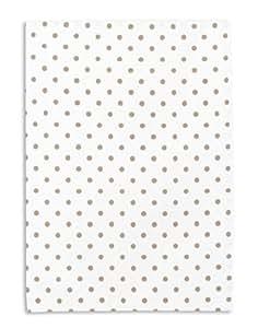 Torchon métis imprimé, lin&coton, TRIOLINO®, motif petit points, gris-beige, 50x70 cm