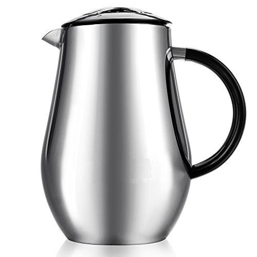 34oz doppelwandig Edelstahl Kaffeebereiter, Kaffee & Espresso Filter,, Vakuum Isoliert Kaffeemaschine und französischen Presse keine Drip Auslauf mit ABS-Griff, 1000ml [UK Lager]