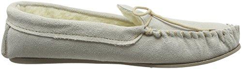 Ciabatte a mocassino, da donna, in vera pelle di camoscio, con calda fodera in lana Beige (beige)
