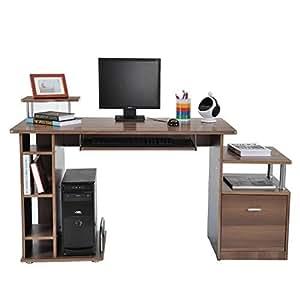 outsunny bureau ordinateur de bureau table ordinateur bois fonc marron effet bois de noyer. Black Bedroom Furniture Sets. Home Design Ideas