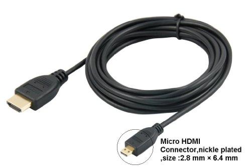 agagadgets 5m/16ft High Speed Micro HDMI (Typ D) auf HDMI (Typ A), führen für Anschluss PANASONIC TZ60Kamera an TV, HDTV, LCD, Plasma, Monitor mit HDMI Port-PREMIUM Gold Qualität Kabel-Audio & Video-Unterstützt 3D, 4K, 1440p, 1080p Panasonic-hdtv-lcd