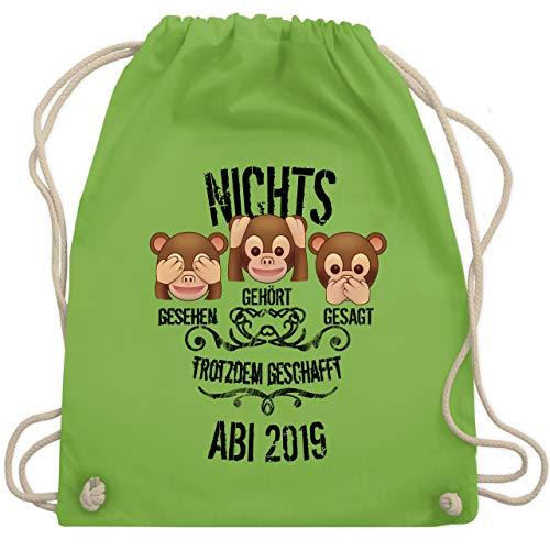 Abi & Abschluss - 3 Affen Emojis ABI 2019 - Unisize - Hellgrün - WM110 - Turnbeutel & Gym Bag