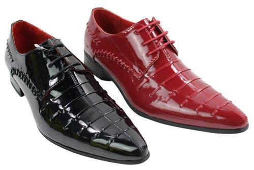 Design Formalmente Dos Homens Atado De Ocasional Preto Brilhante 44 Italianos Vermelho Calçados FWx4anF