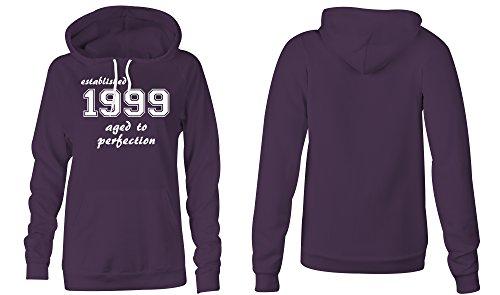 Established 1999 aged to perfection �?Hoodie Kapuzen-Pullover Frauen-Damen �?hochwertig bedruckt mit lustigem Spruch �?Die perfekte Geschenk-Idee (08) lila