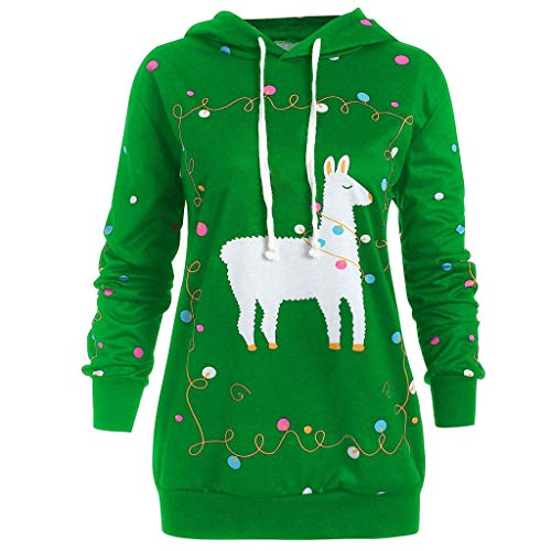 Auiyut Damen Weihnachts Kapuzenpullover Freizeit Hoodie Langarm Sweatshirt Lose Oberseiten Kapuzenpulli Beiläufige Jumper Weihnachtsdruck Übergroße XL-5XL