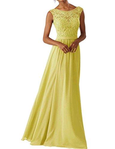 RJOAMEUDRESS Damen damen Chiffon Brautjungfer Kleider Sleeveless Lange Prom Abendkleider Gelb Größe 34 Brautjungfer Prom Kleid