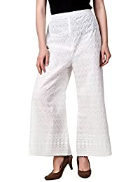 looks Women's lucknow chicken palazzo pant(freesize-white)