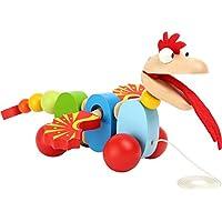 Schiebefigur Nachziehtier Motorik Spiel Spielzeug #1118 Schiebetier niedlicher Drache aus hochwertigem Holz