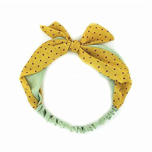 MultiKing Stirnbänder kopftuch haarschmuck haarbänder Headband Accessoires Retro Polka Dot Polka Dot Satin Schleife gelb -