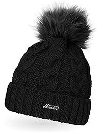 3a18f293bef26c Neverless Damen Strick-Mütze gefüttert mit Fell-Bommel, Kunstfell, Winter- Mütze