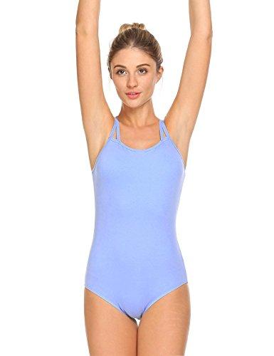 Ekouaer Damen Body Stringbody Active Ärmelloser Body Gymnastikanzug Dancewear aus Baumwoll-Stretch Blau-2