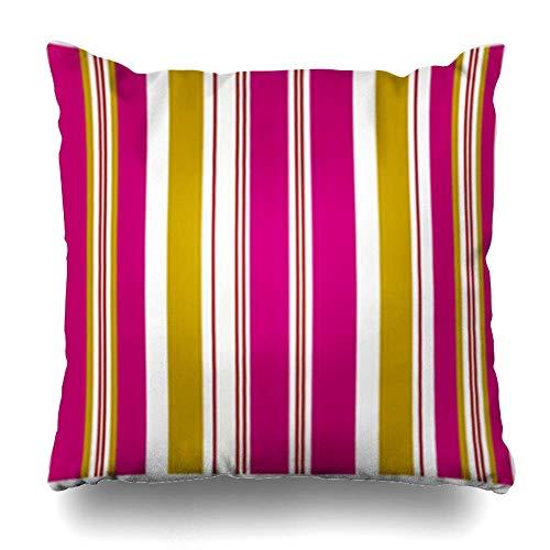 Klotr Kissenbezugs Dreamy Pink Pattern Fuchisa Gold Stripe Outline Vintage Wide Babyblue Color Create Pillowcase Square Size 18 X 18 Inches Home Decor Cushion Cases -