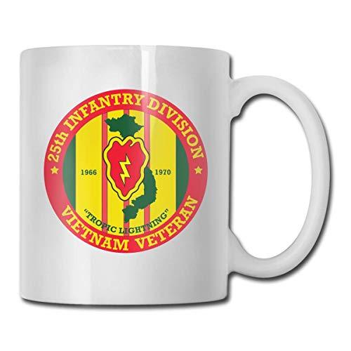 JOJOLASQ 25th Infantry Division Vietnam Veteran Coffee Mugs Ceramic Coffee Cups with Large C-Handle Funny Coffee Mug Cool Coffee Tea Cup 11 Ounces for Family and Friend (25th Infantry Division Vietnam)